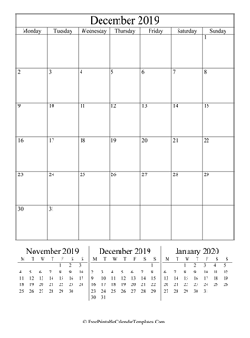 2019 december calendar printable vertical layout