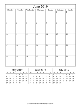 2019 june calendar printable vertical layout
