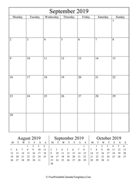 2019 september calendar printable vertical layout