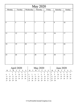 2020 may calendar printable vertical layout