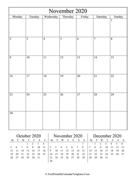 2020 november calendar printable vertical layout