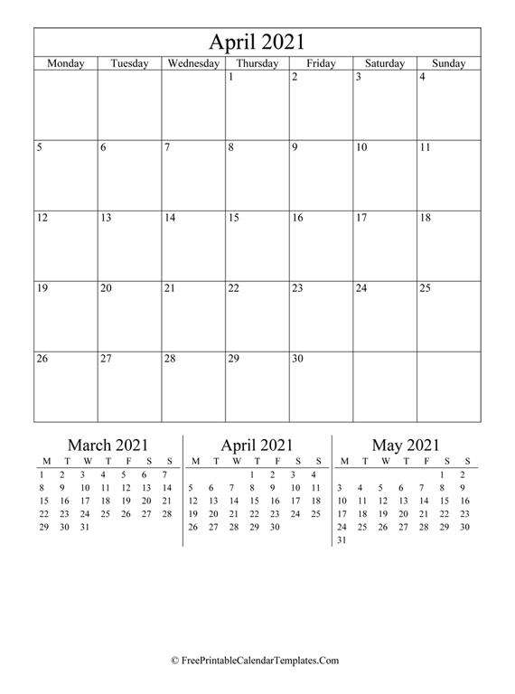 2021 April Calendar Printable (vertical)