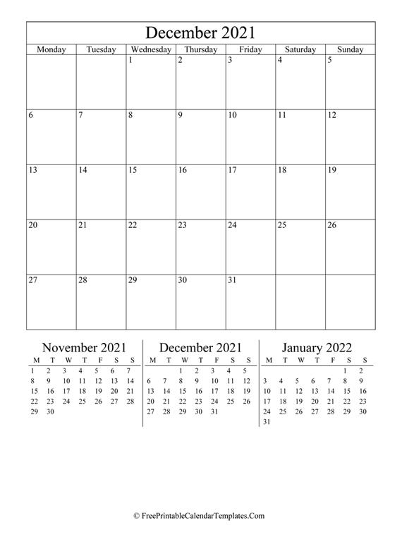 2021 December Calendar Printable (vertical)