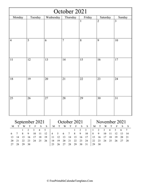 2021 october calendar printable vertical layout