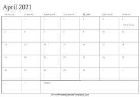 april 2021 editable calendar with holidays and notes