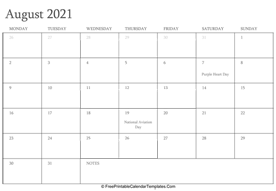 august 2021 editable calendar with holidays and notes