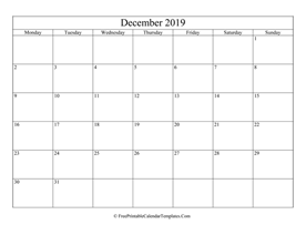 blank and editable december calendar 2019 in landscape layout