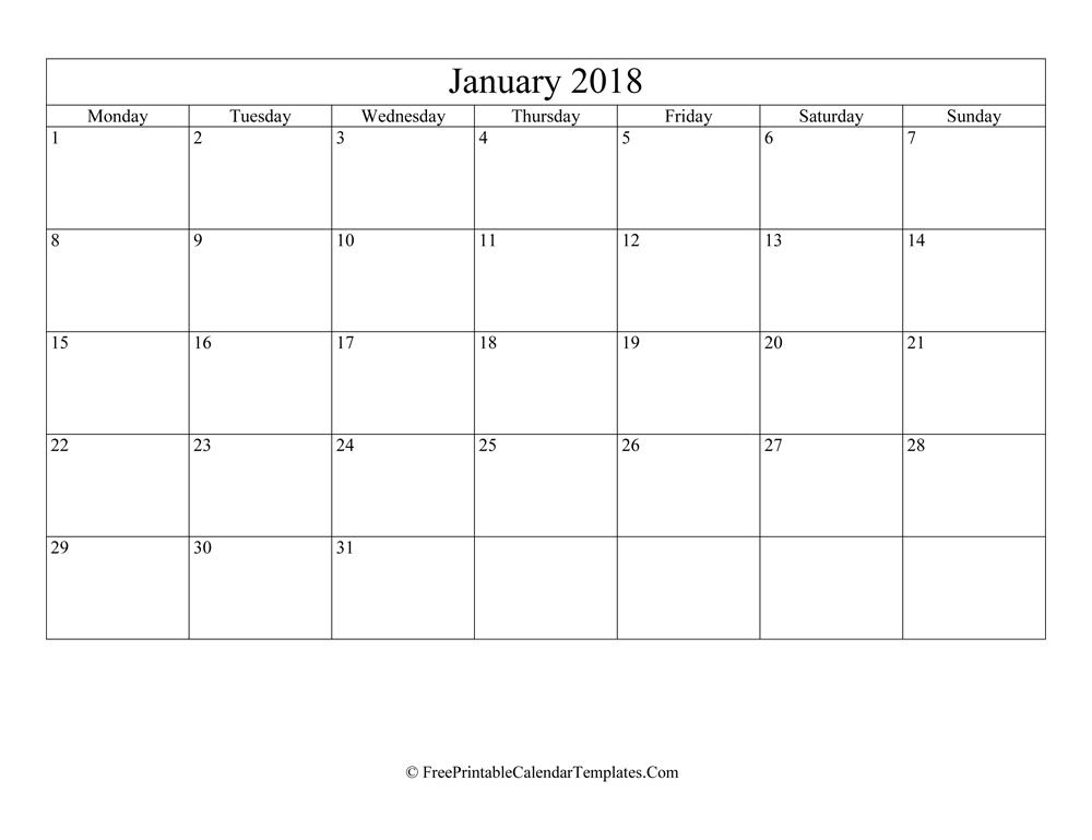 blank editable january calendar 2018  landscape
