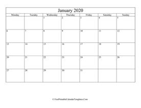 January 2020 Calendar Fillable January 2020 Calendar Templates | FreePrintableCalendarTemplates.Com