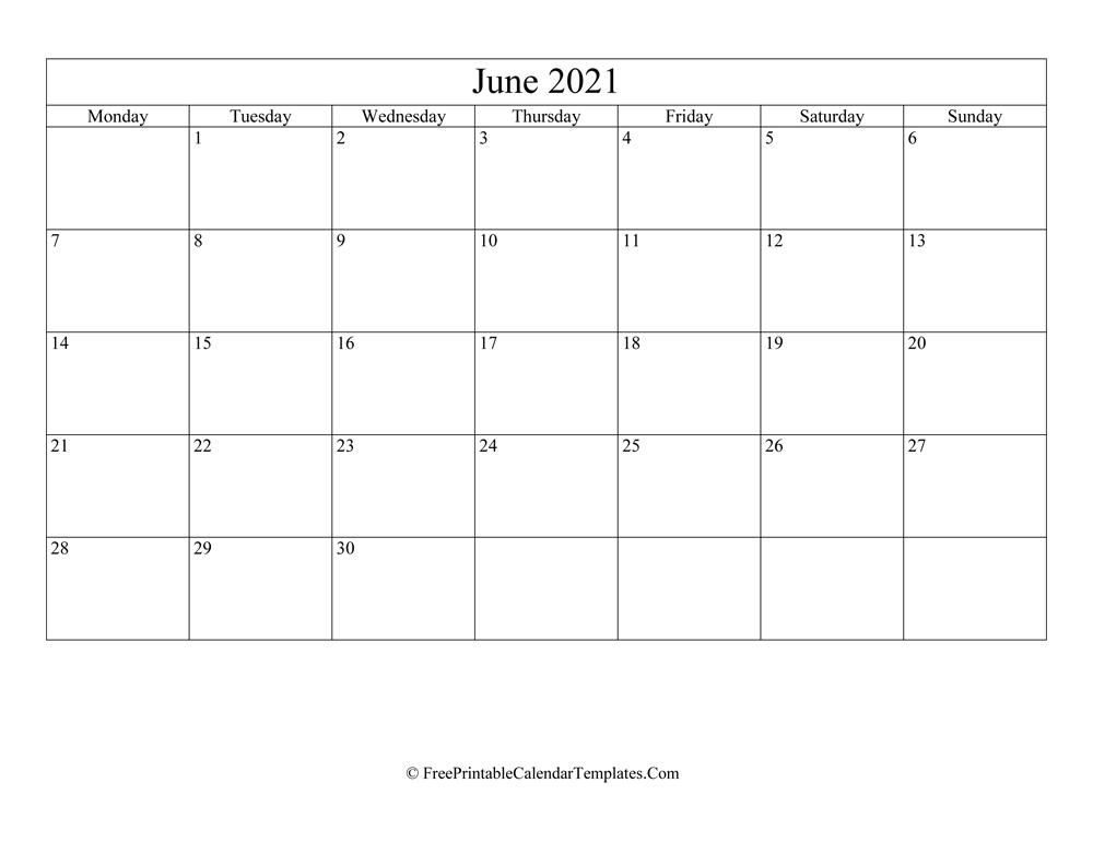 Blank Editable June Calendar 2021 (Landscape)