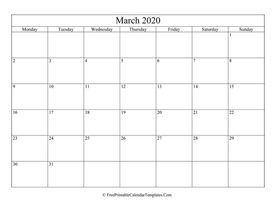 blank and editable march calendar 2020 in landscape layout