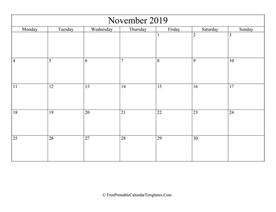 blank and editable november calendar 2019 in landscape layout