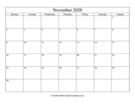 blank and editable november calendar 2020 in landscape layout