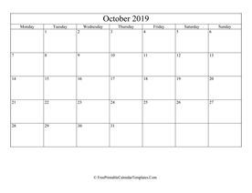 blank and editable october calendar 2019 in landscape layout