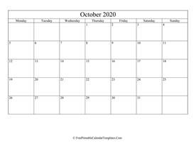 blank and editable october calendar 2020 in landscape layout