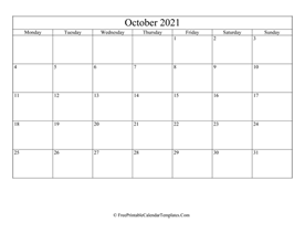 blank and editable october calendar 2021 in landscape layout