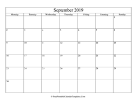 blank and editable september calendar 2019 in landscape layout