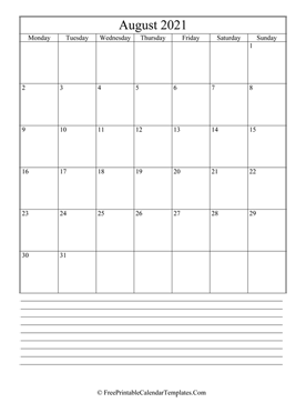 calendar august 2021 with notes