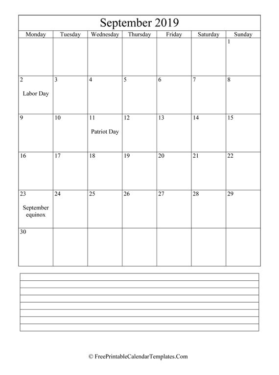 Calendar September 2019 with Notes (vertical)