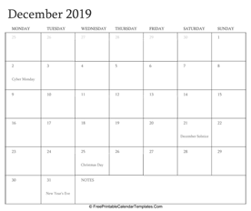 december 2019 editable calendar with holidays and notes