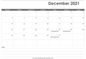 december 2021 calendar printable holidays layout