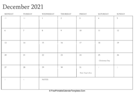 december 2021 editable calendar with holidays and notes