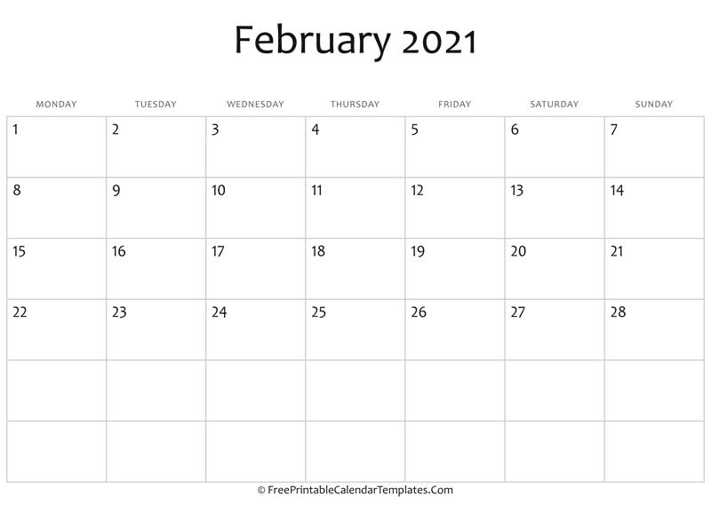 Fillable February Calendar 2021 (horizontal)