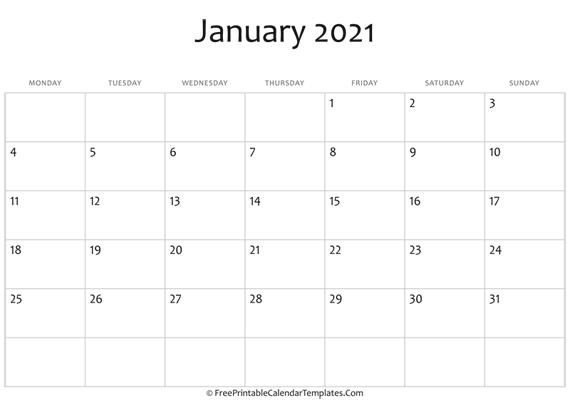 Fillable January Calendar 2021 (horizontal)