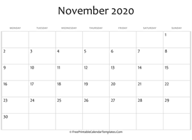 fillable november calendar 2020