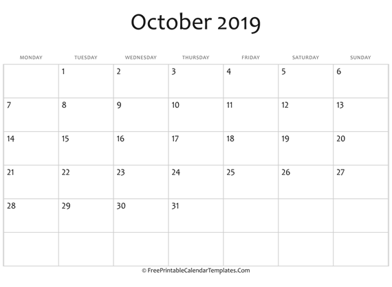 Fillable October Calendar 2019 (horizontal)