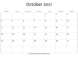 fillable october calendar 2021