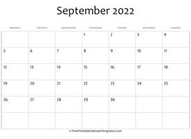 September 2022 Calendar Printable with Holidays