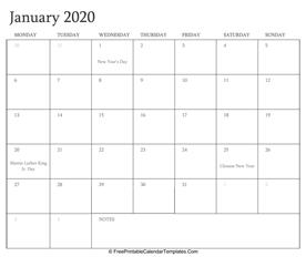 Editable 2020 Calendar January 2020 Calendar Templates | FreePrintableCalendarTemplates.Com