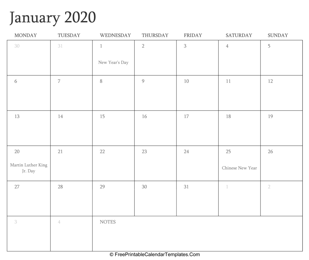 January 2020 Editable Calendar With Holidays And Notes