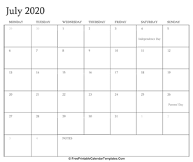 july 2020 editable calendar with holidays and notes