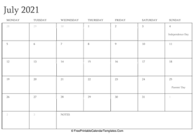 july 2021 editable calendar with holidays and notes