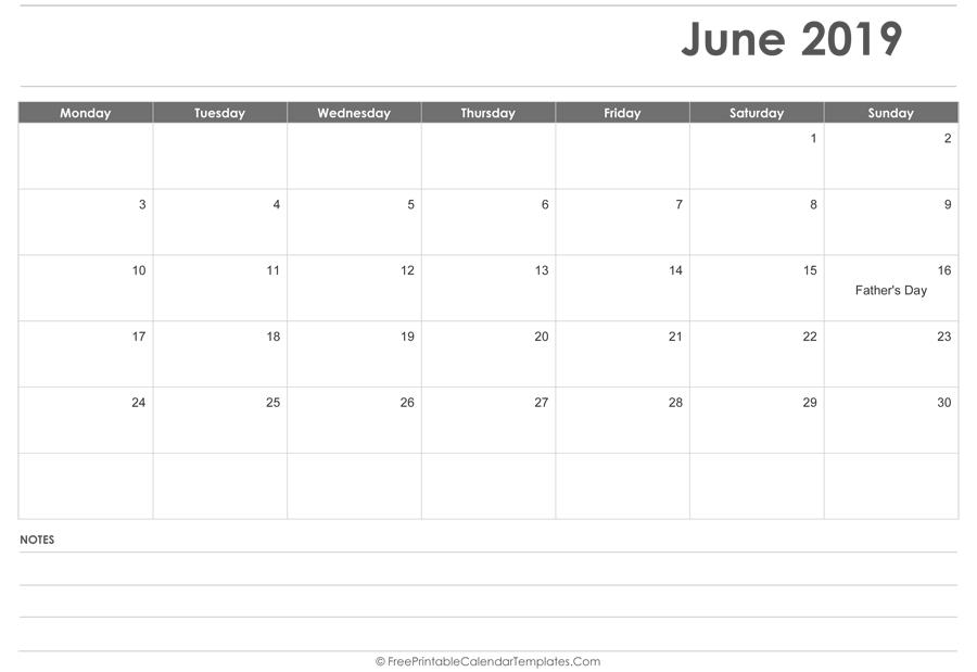 June 2019 Calendar Printable with Holidays