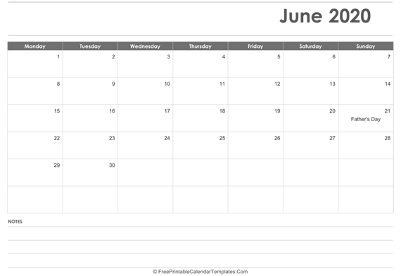 June 2020  Calendar Printable with Holidays