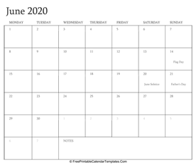 june 2020 editable calendar with holidays and notes