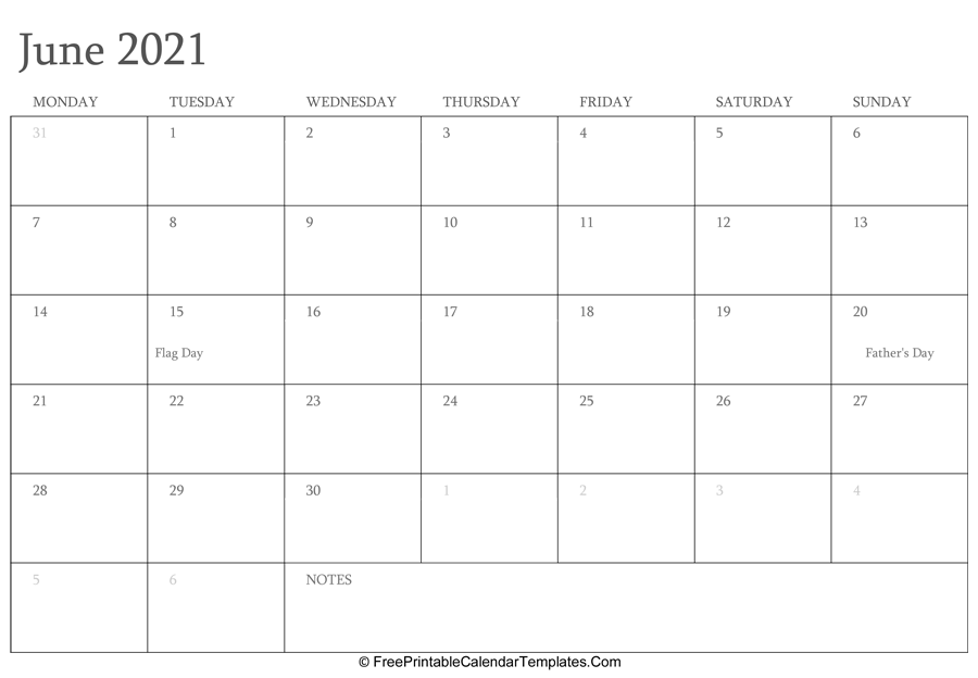 June 2021 Editable Calendar with Holidays and Notes