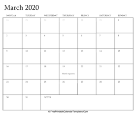 march 2020 editable calendar with holidays and notes