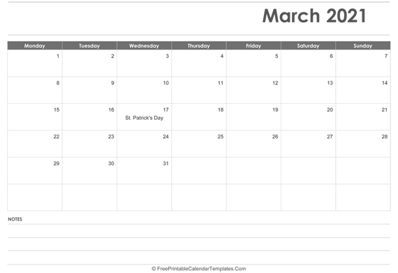 March 2021  Calendar Printable with Holidays
