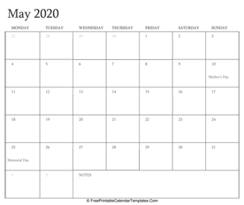 may 2020 editable calendar with holidays and notes