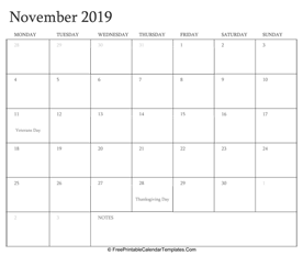 november 2019 editable calendar with holidays and notes