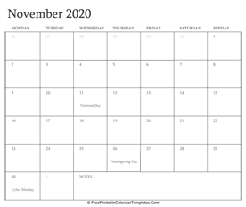 november 2020 editable calendar with holidays and notes