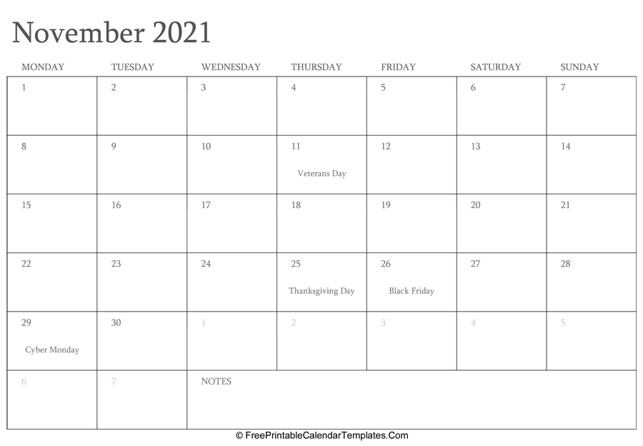 November 2021 Editable Calendar with Holidays and Notes