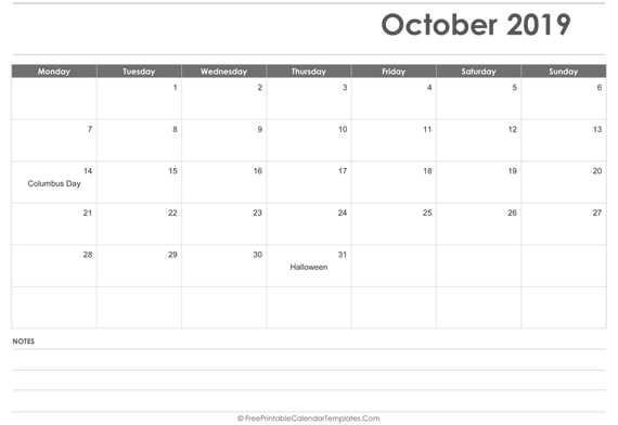 October 2019  Calendar Printable with Holidays