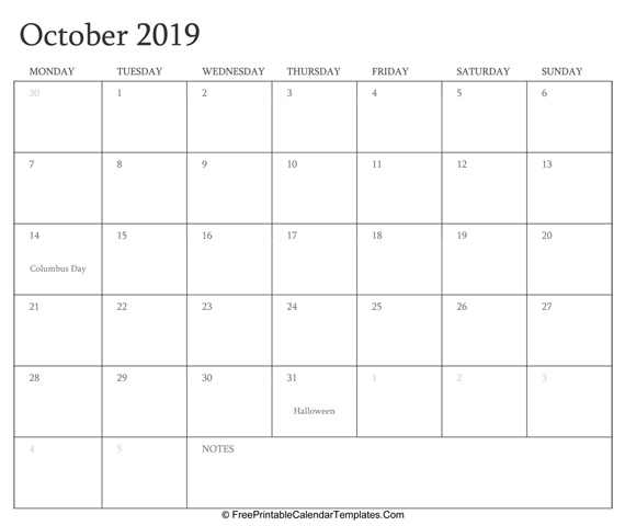 October 2019 Editable Calendar with Holidays and Notes