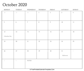 october 2020 editable calendar with holidays and notes