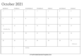 october 2021 editable calendar with holidays and notes